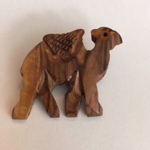 Jewelry - Handcarved Wooden Camel Pin